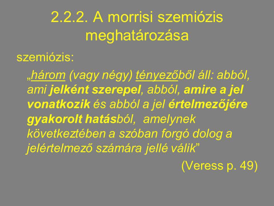 2.2.2. A morrisi szemiózis meghatározása