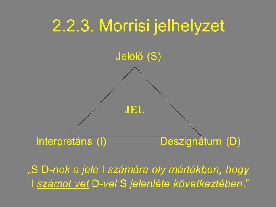2.2.3. Morrisi jelhelyzet Jelölő (S) JEL