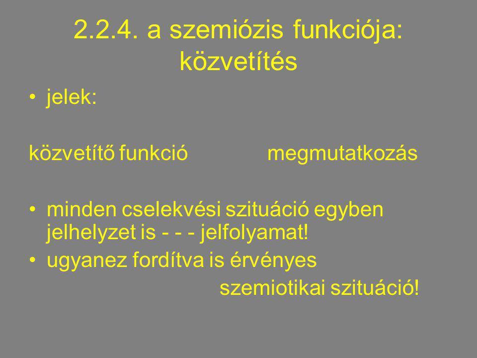2.2.4. a szemiózis funkciója: közvetítés