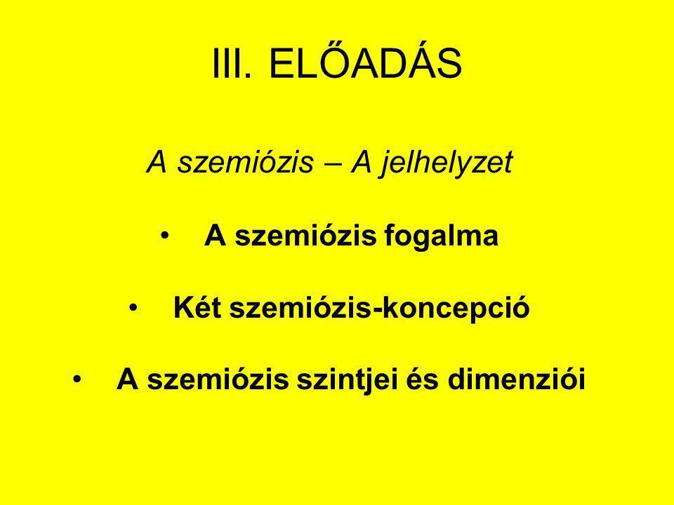Két szemiózis-koncepció A szemiózis szintjei és dimenziói
