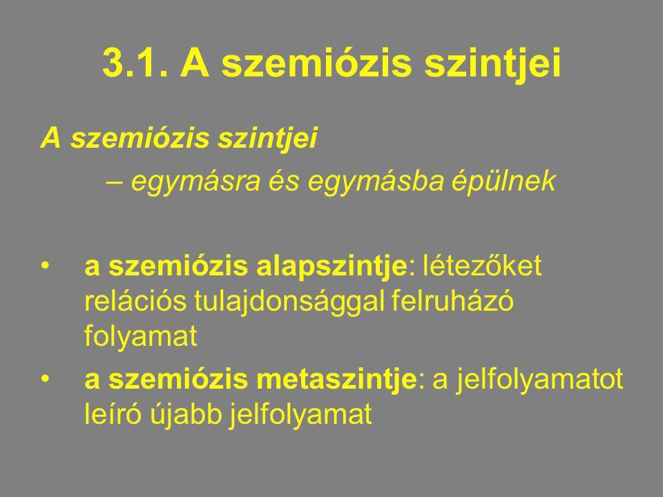 3.1. A szemiózis szintjei A szemiózis szintjei