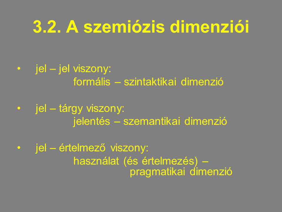 3.2. A szemiózis dimenziói jel – jel viszony: