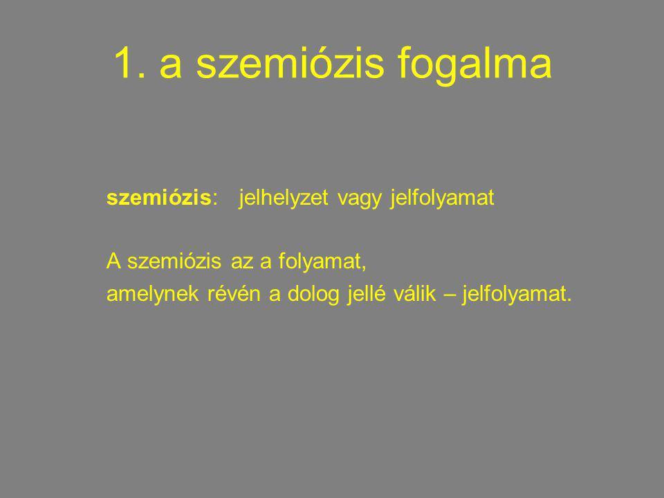 1. a szemiózis fogalma szemiózis: jelhelyzet vagy jelfolyamat