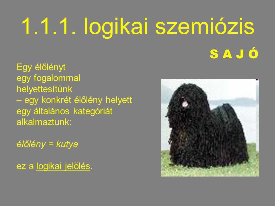 1.1.1. logikai szemiózis S A J Ó Egy élőlényt egy fogalommal