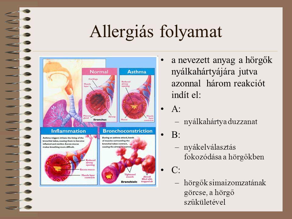 Allergiás folyamat a nevezett anyag a hörgők nyálkahártyájára jutva azonnal három reakciót indít el: