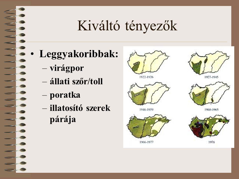 Kiváltó tényezők Leggyakoribbak: virágpor állati szőr/toll poratka