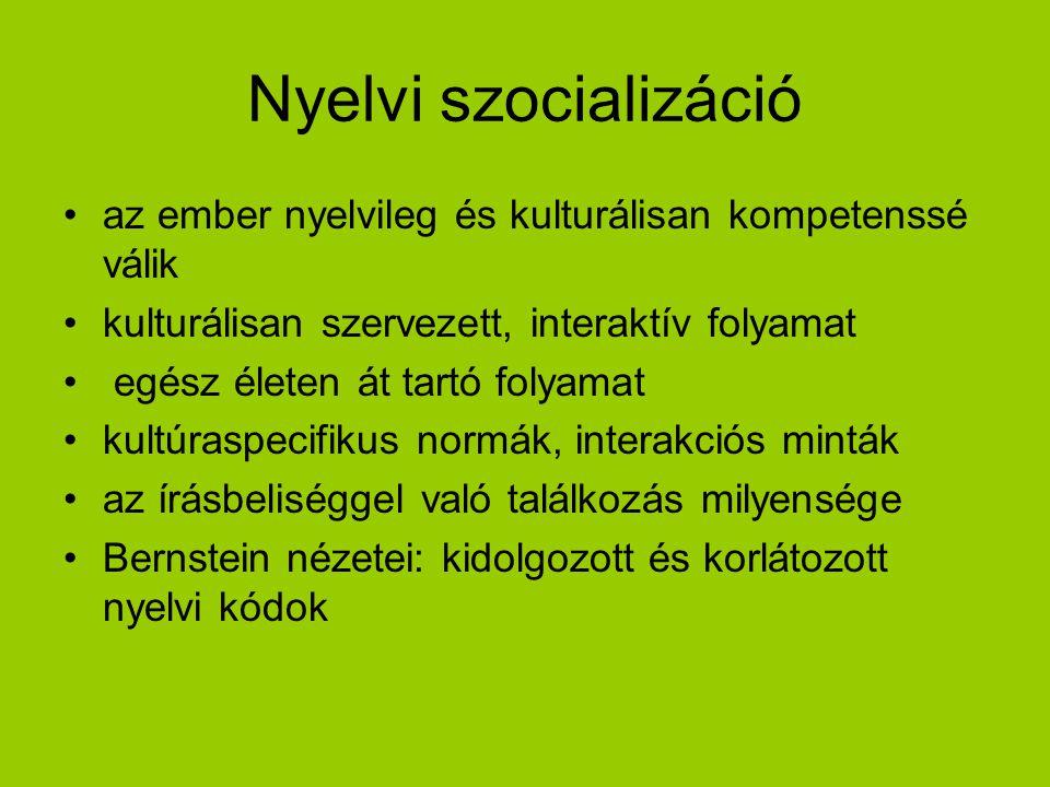 Nyelvi szocializáció az ember nyelvileg és kulturálisan kompetenssé válik. kulturálisan szervezett, interaktív folyamat.