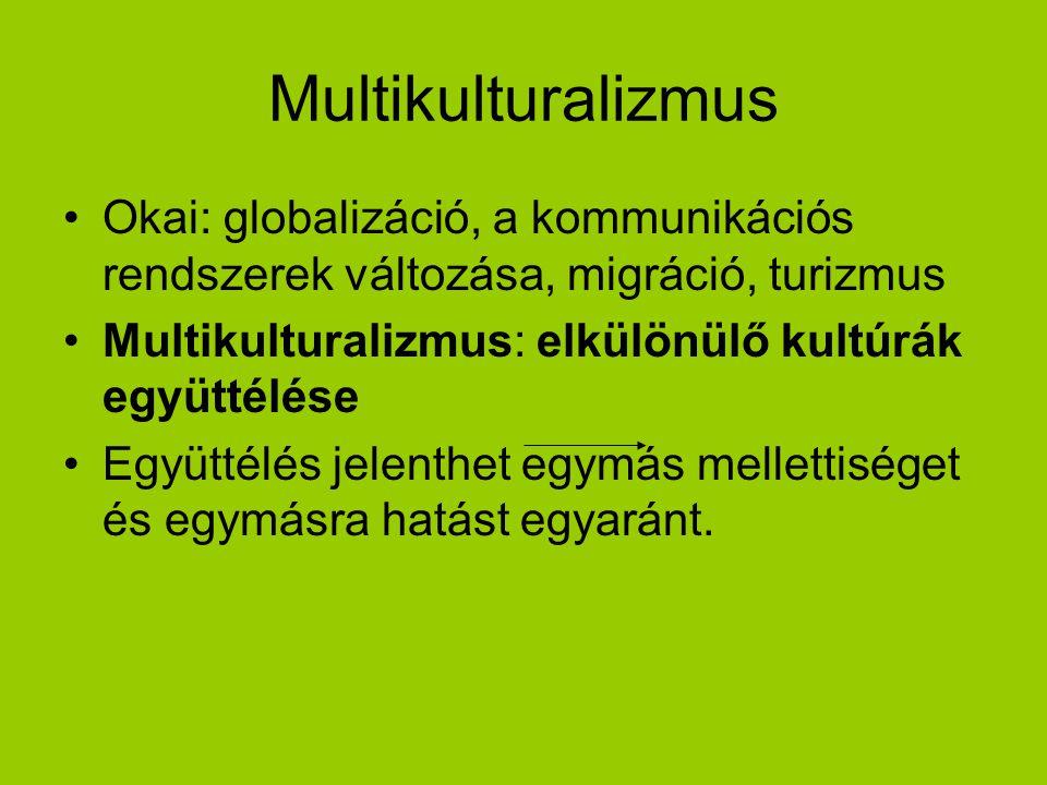 Multikulturalizmus Okai: globalizáció, a kommunikációs rendszerek változása, migráció, turizmus. Multikulturalizmus: elkülönülő kultúrák együttélése.
