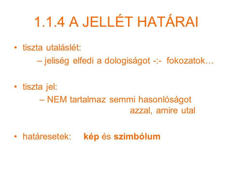 1.1.4 A JELLÉT HATÁRAI tiszta utaláslét:
