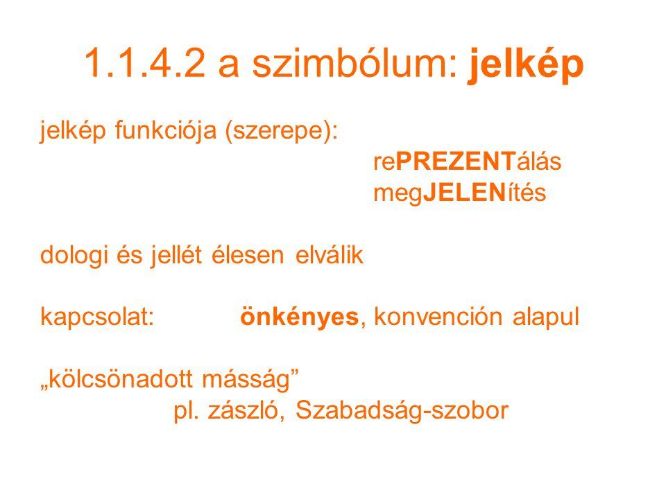 1.1.4.2 a szimbólum: jelkép jelkép funkciója (szerepe): rePREZENTálás