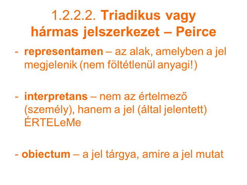1.2.2.2. Triadikus vagy hármas jelszerkezet – Peirce