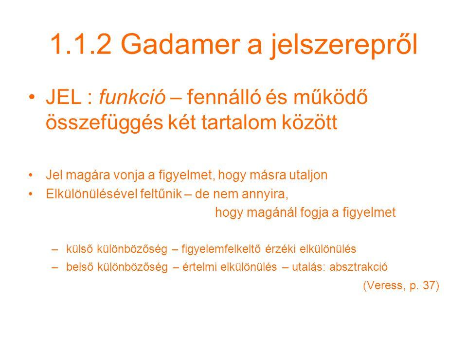 1.1.2 Gadamer a jelszerepről