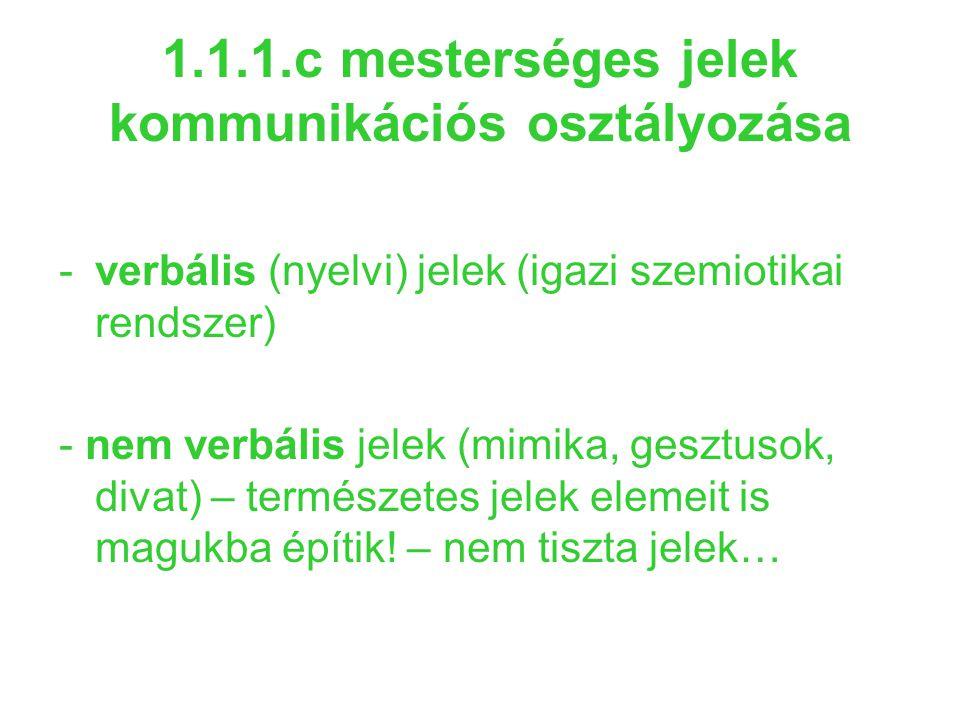 1.1.1.c mesterséges jelek kommunikációs osztályozása