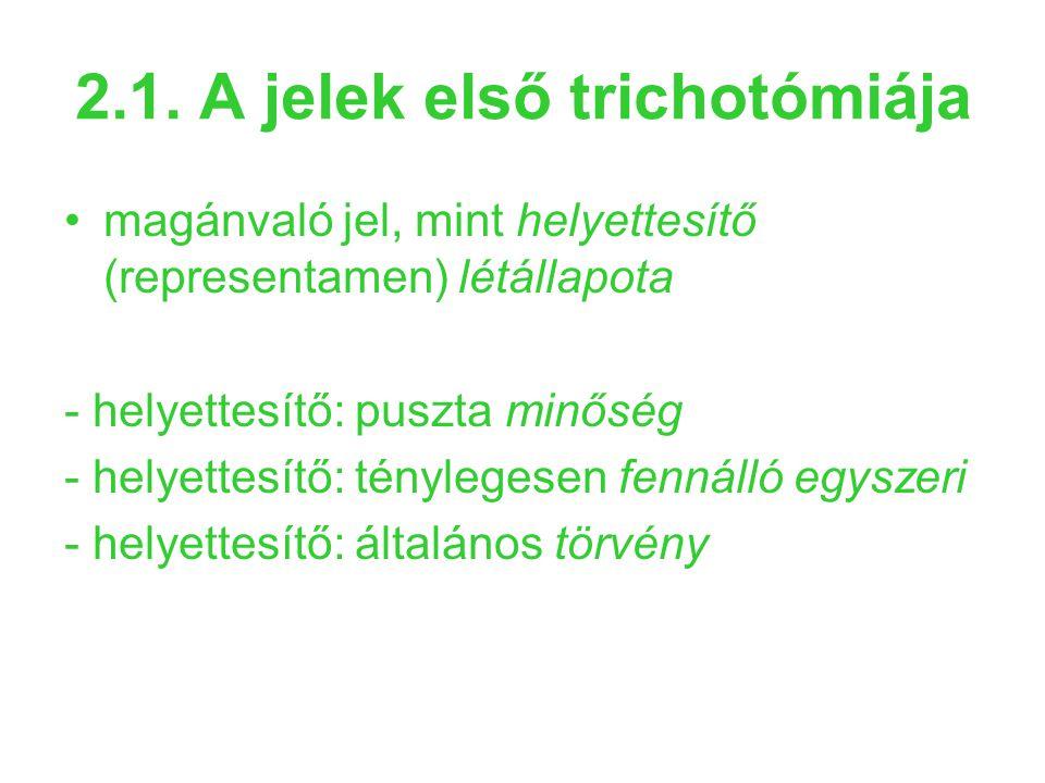 2.1. A jelek első trichotómiája