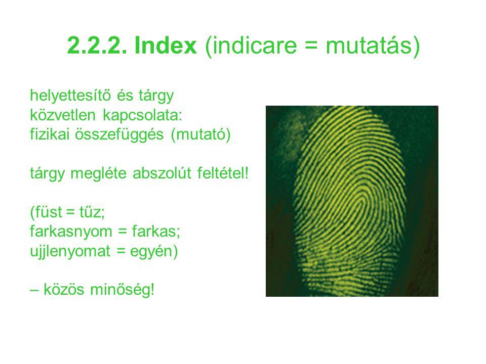 2.2.2. Index (indicare = mutatás)