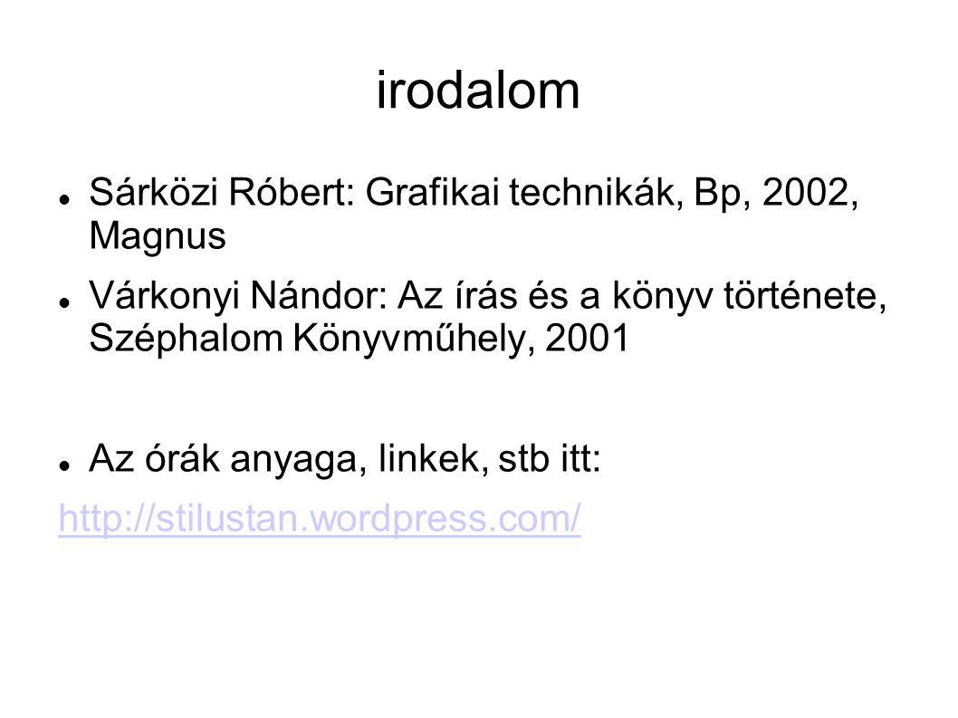 irodalom Sárközi Róbert: Grafikai technikák, Bp, 2002, Magnus