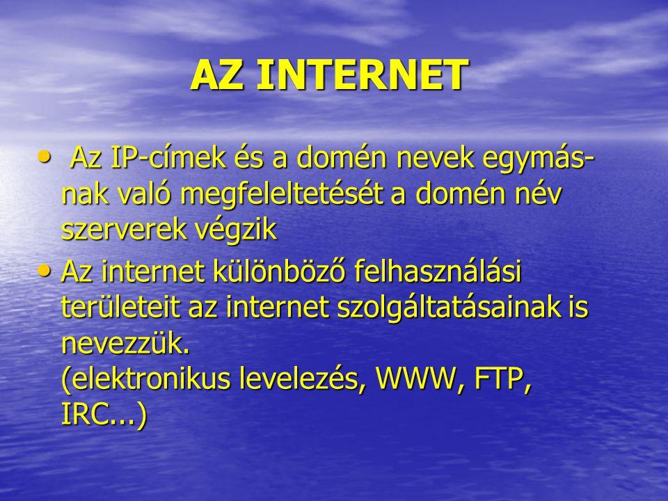 AZ INTERNET Az IP-címek és a domén nevek egymás-nak való megfeleltetését a domén név szerverek végzik.