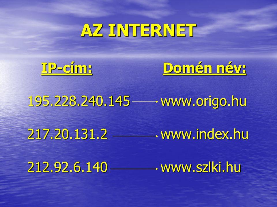 AZ INTERNET IP-cím: 195.228.240.145 217.20.131.2 212.92.6.140.