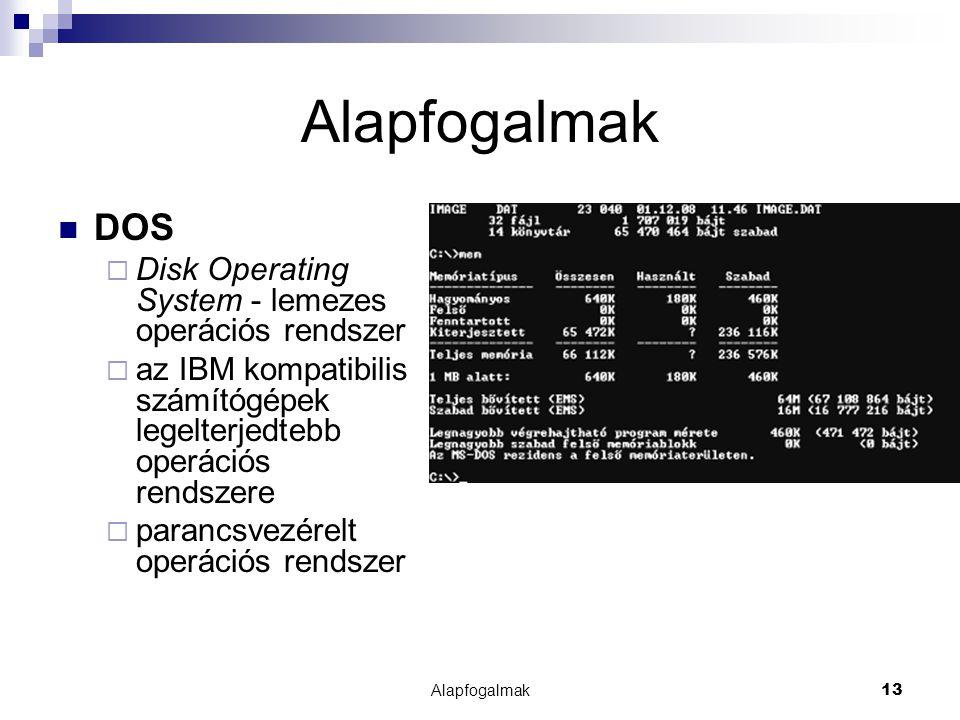 Alapfogalmak DOS Disk Operating System - lemezes operációs rendszer