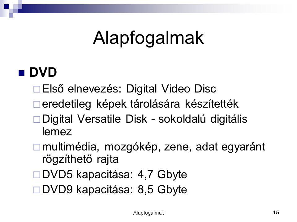 Alapfogalmak DVD Első elnevezés: Digital Video Disc