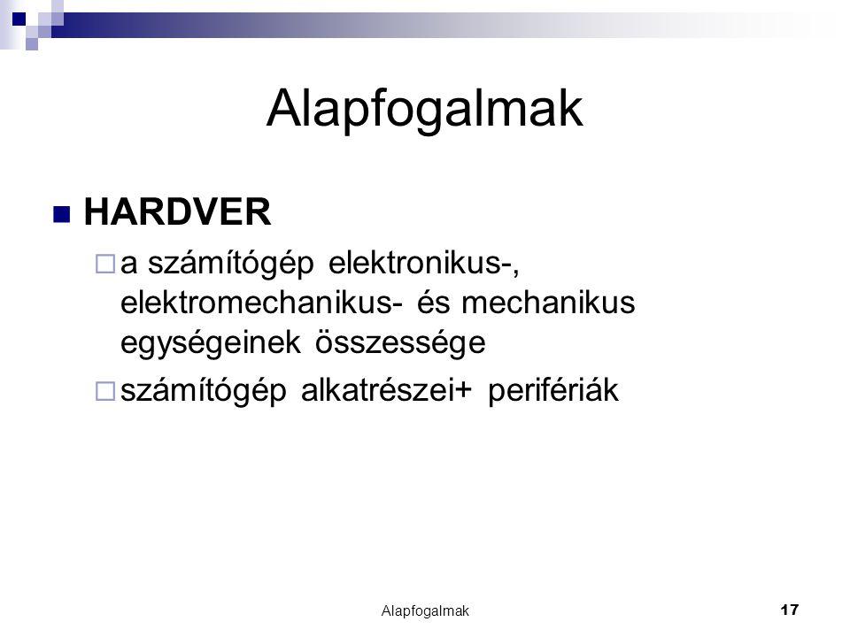 Alapfogalmak HARDVER. a számítógép elektronikus-, elektromechanikus- és mechanikus egységeinek összessége.