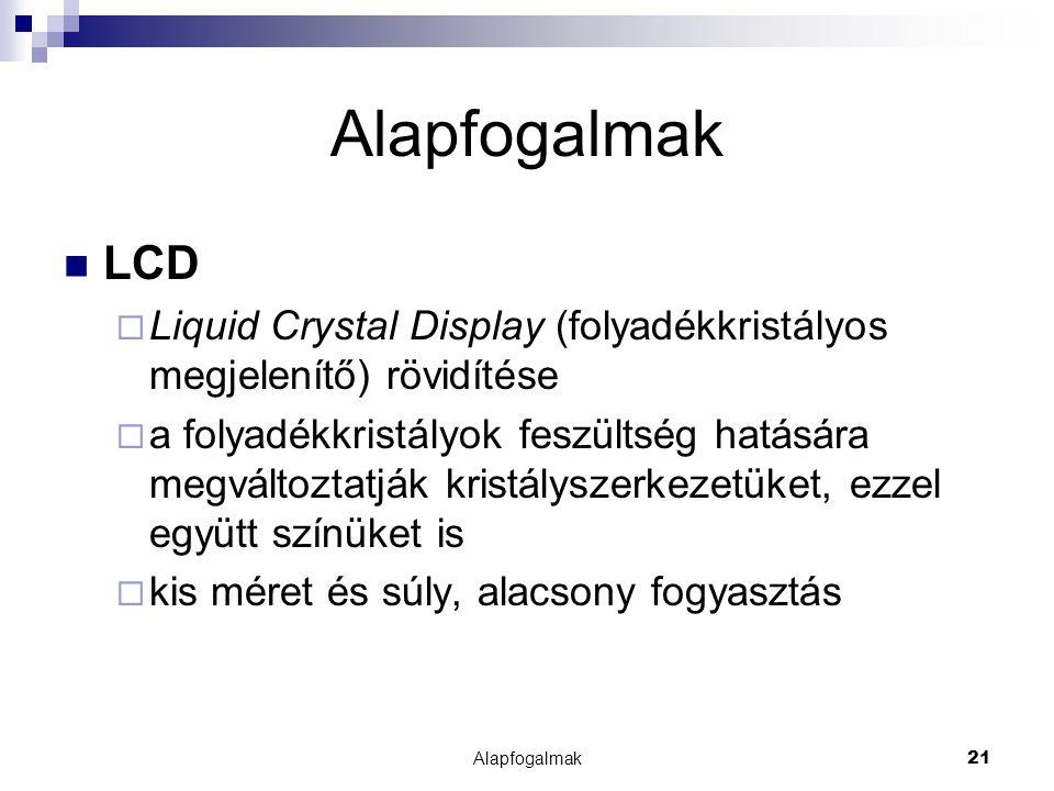 Alapfogalmak LCD. Liquid Crystal Display (folyadékkristályos megjelenítő) rövidítése.