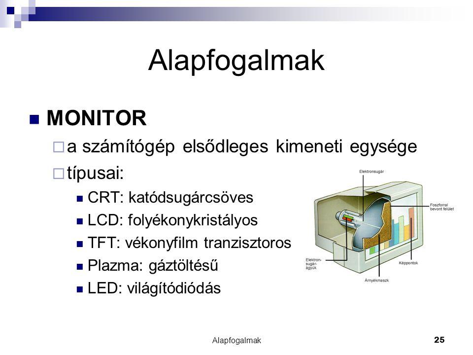 Alapfogalmak MONITOR a számítógép elsődleges kimeneti egysége típusai: