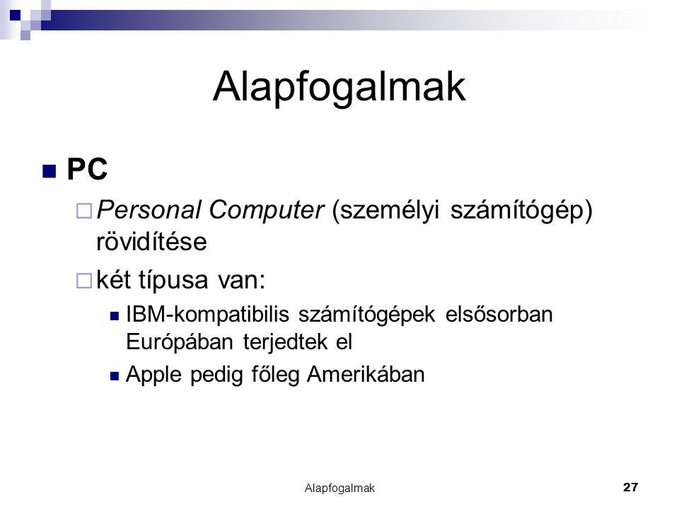 Alapfogalmak PC Personal Computer (személyi számítógép) rövidítése