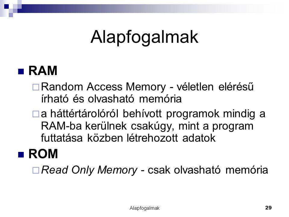 Alapfogalmak RAM. Random Access Memory - véletlen elérésű írható és olvasható memória.
