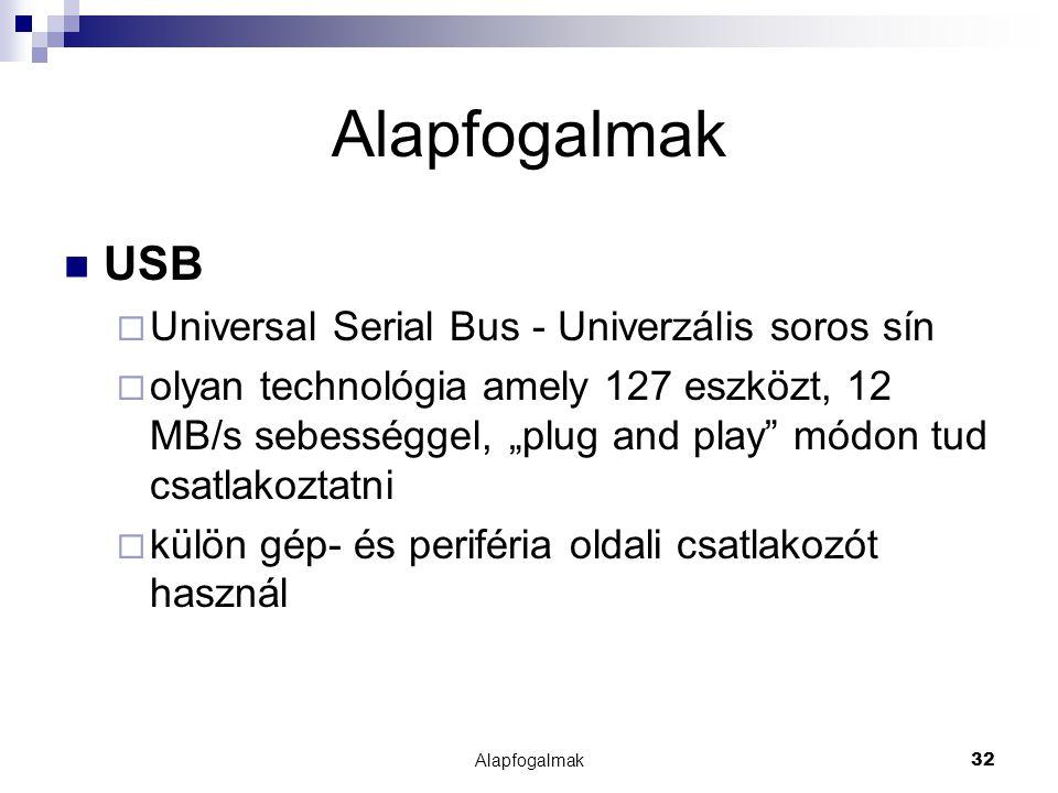 Alapfogalmak USB Universal Serial Bus - Univerzális soros sín