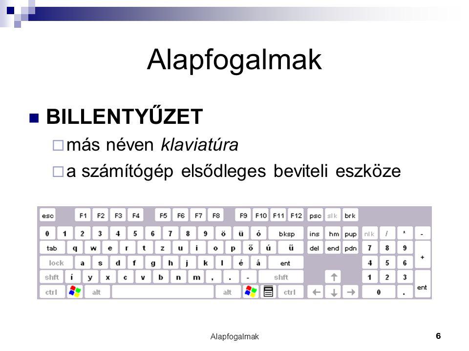 Alapfogalmak BILLENTYŰZET más néven klaviatúra