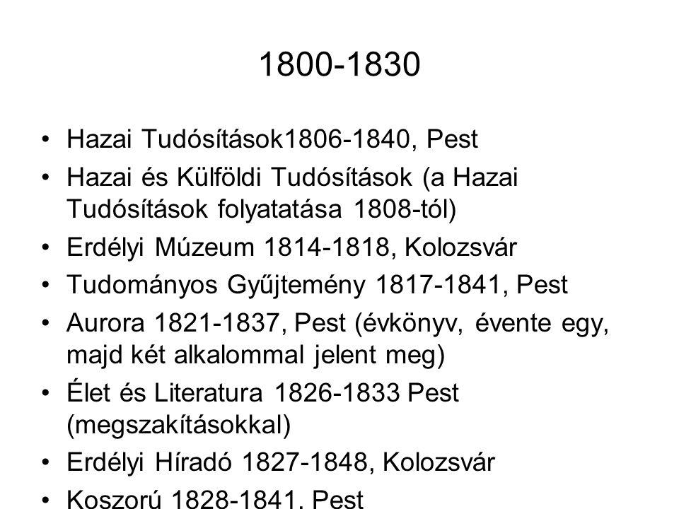 1800-1830 Hazai Tudósítások1806-1840, Pest