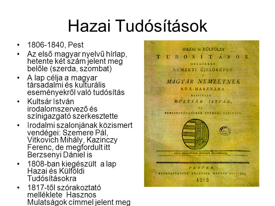Hazai Tudósítások 1806-1840, Pest