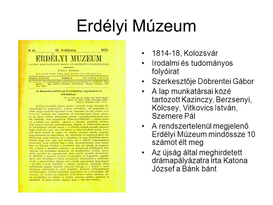 Erdélyi Múzeum 1814-18, Kolozsvár Irodalmi és tudományos folyóirat