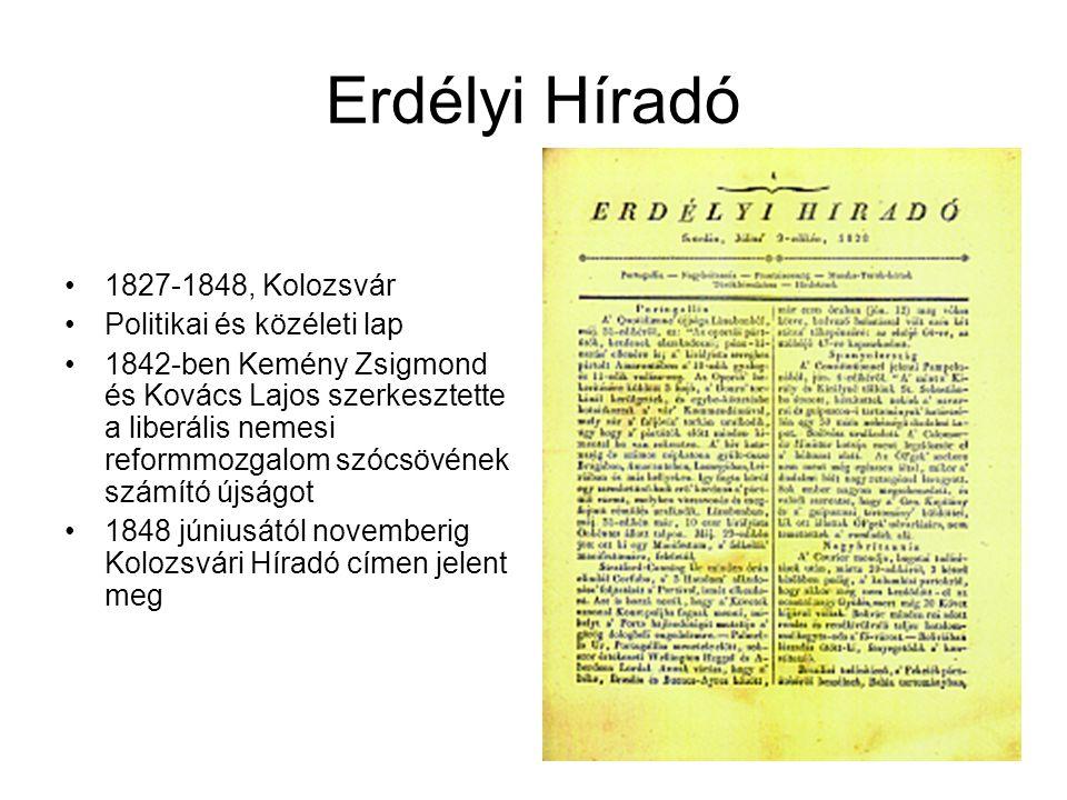 Erdélyi Híradó 1827-1848, Kolozsvár Politikai és közéleti lap