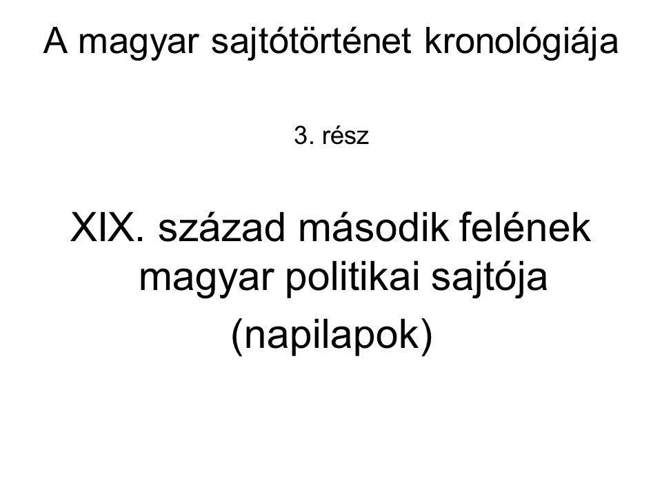 A magyar sajtótörténet kronológiája