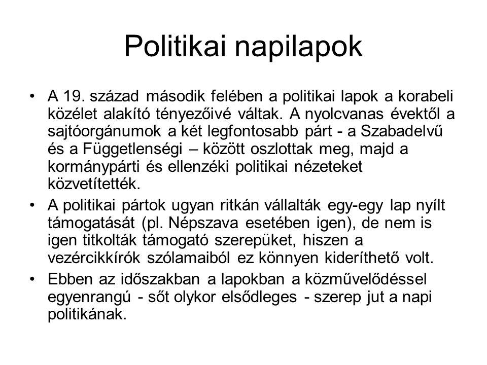 Politikai napilapok