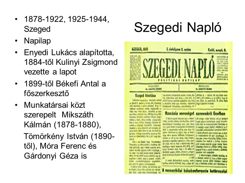 Szegedi Napló 1878-1922, 1925-1944, Szeged Napilap