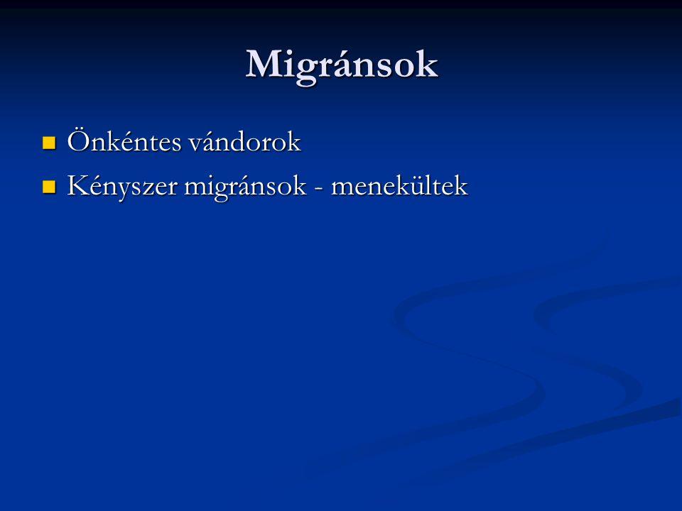 Migránsok Önkéntes vándorok Kényszer migránsok - menekültek