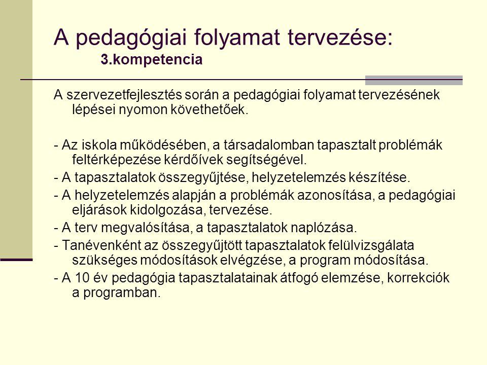 A pedagógiai folyamat tervezése: 3.kompetencia