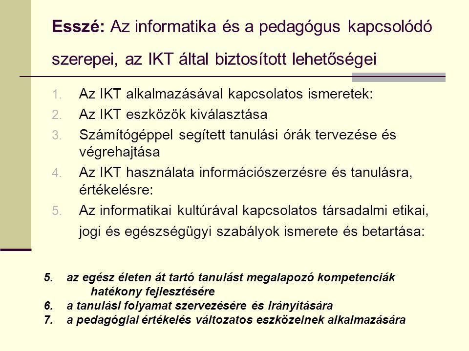 Esszé: Az informatika és a pedagógus kapcsolódó szerepei, az IKT által biztosított lehetőségei
