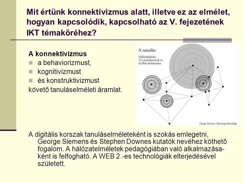 Mit értünk konnektivizmus alatt, illetve ez az elmélet, hogyan kapcsolódik, kapcsolható az V. fejezetének IKT témaköréhez