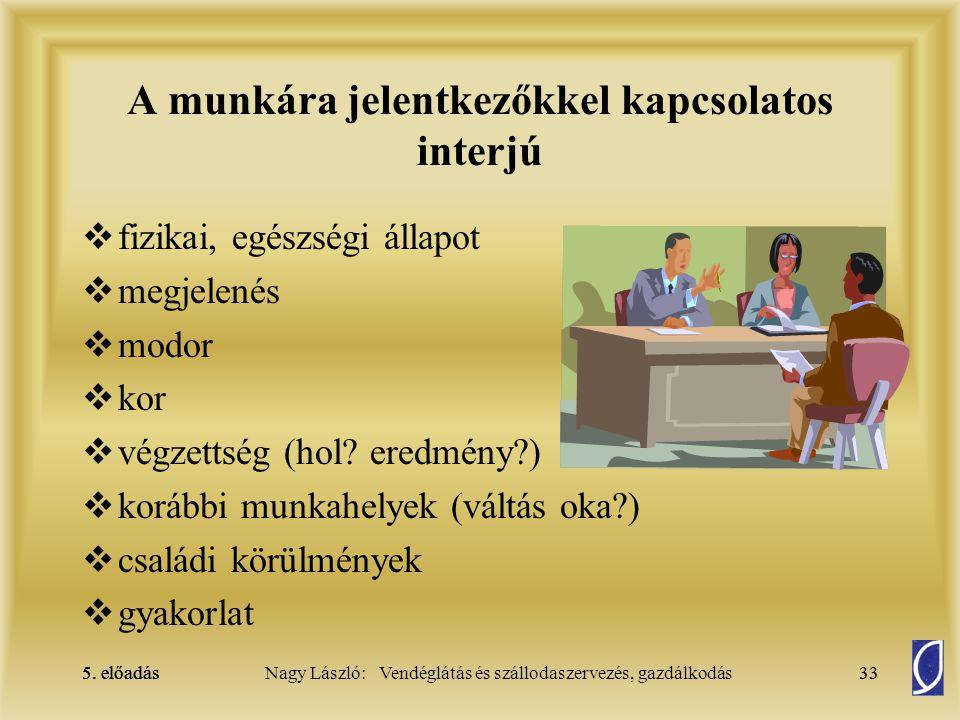 A munkára jelentkezőkkel kapcsolatos interjú