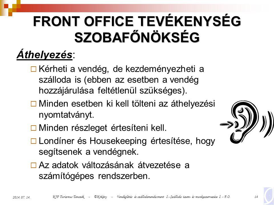 FRONT OFFICE TEVÉKENYSÉG SZOBAFŐNÖKSÉG