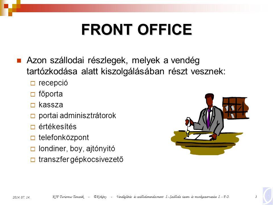 FRONT OFFICE Azon szállodai részlegek, melyek a vendég tartózkodása alatt kiszolgálásában részt vesznek: