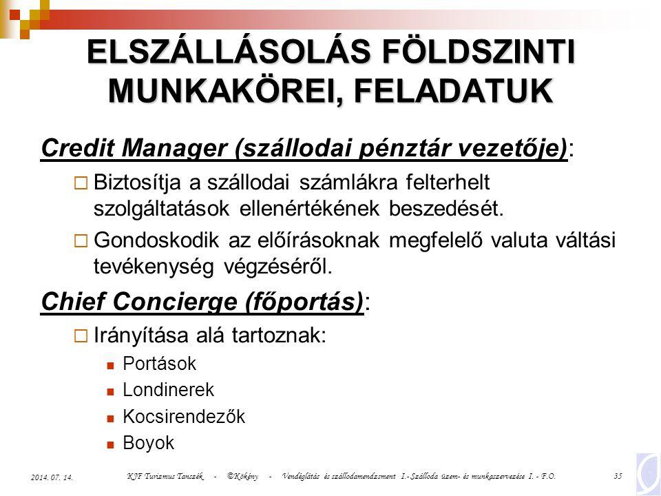 ELSZÁLLÁSOLÁS FÖLDSZINTI MUNKAKÖREI, FELADATUK