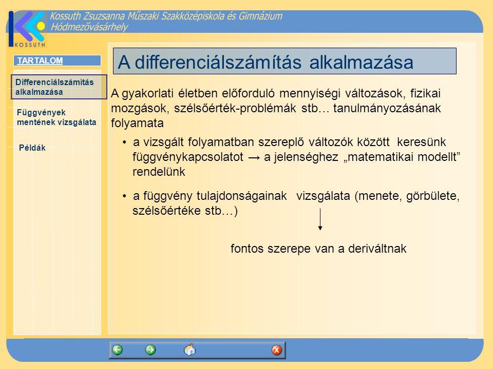 A differenciálszámítás alkalmazása
