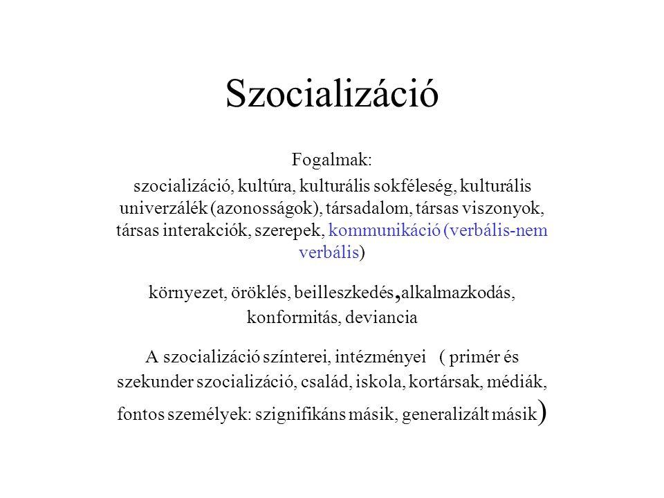 Szocializáció Fogalmak: