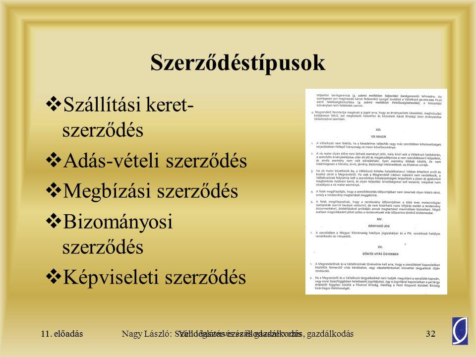 Szerződéstípusok Szállítási keret-szerződés Adás-vételi szerződés