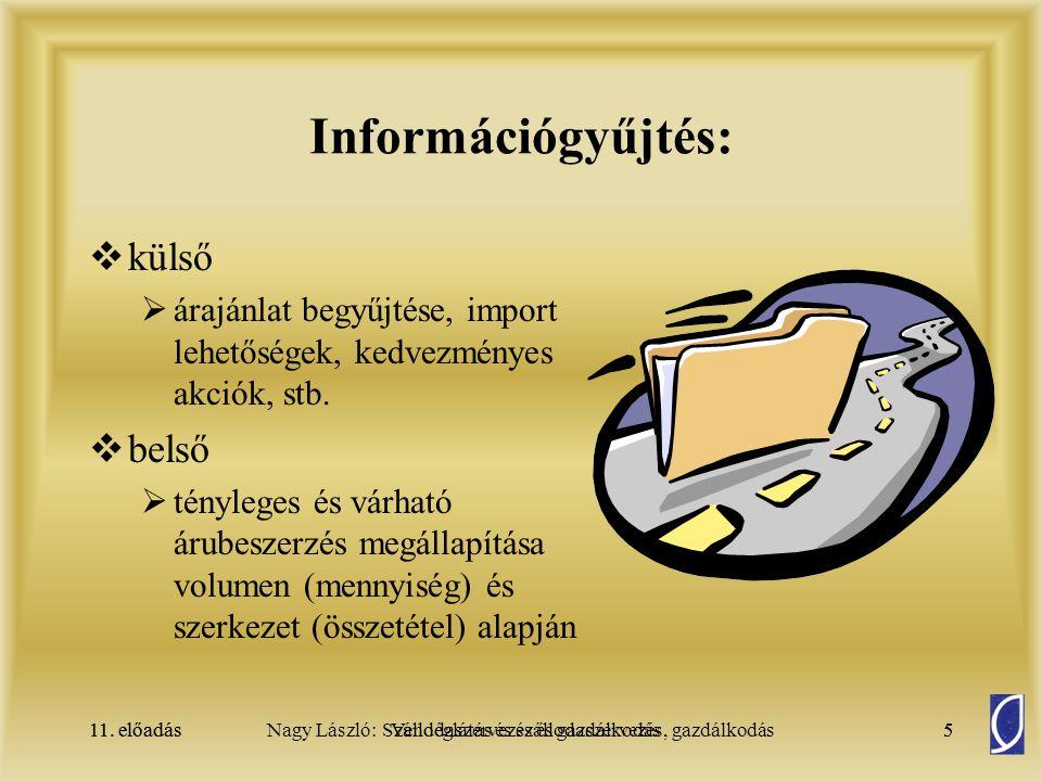 Információgyűjtés: külső belső